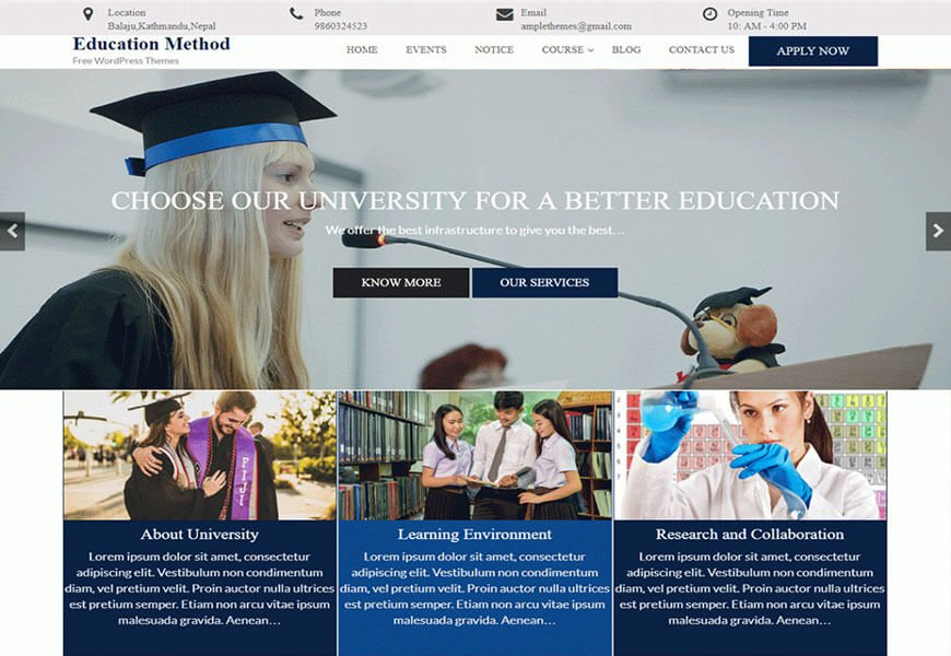 education method wordpress theme
