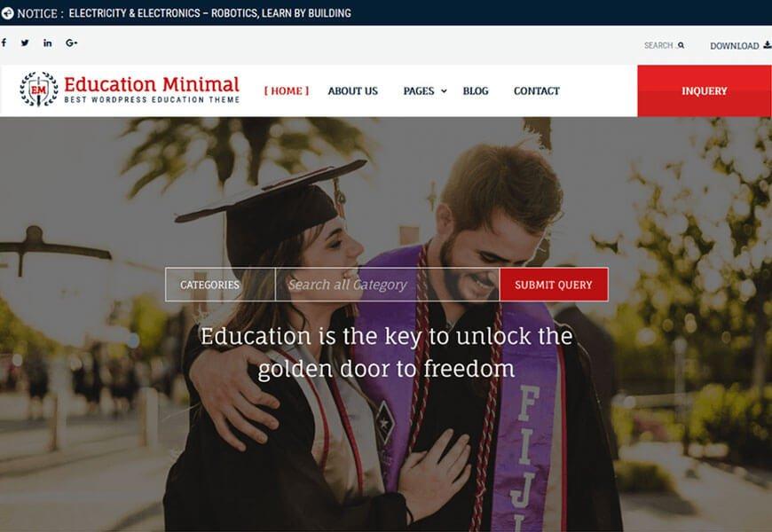 education minimal wordpress theme