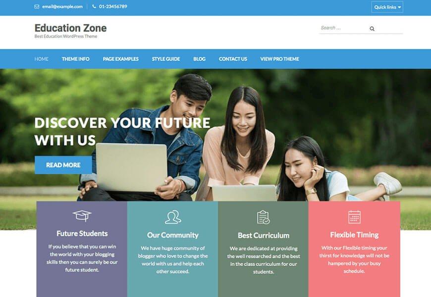 education zone free wordpress themes for schools website
