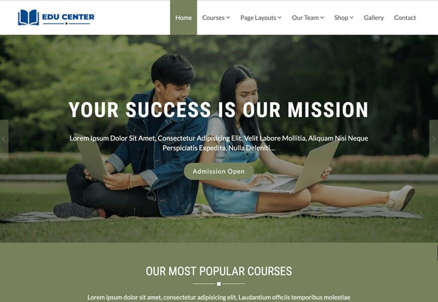 edu center wordpress free theme