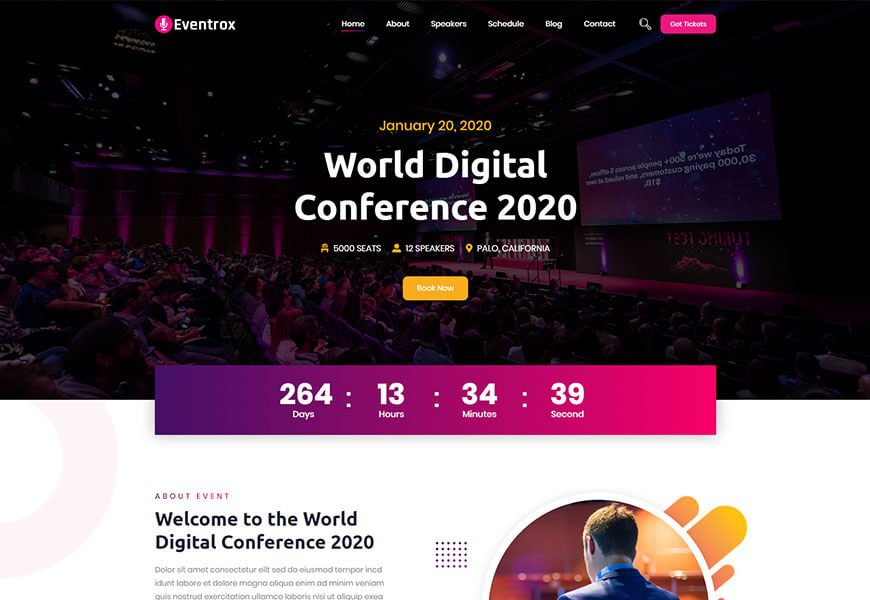 event website html5 templates