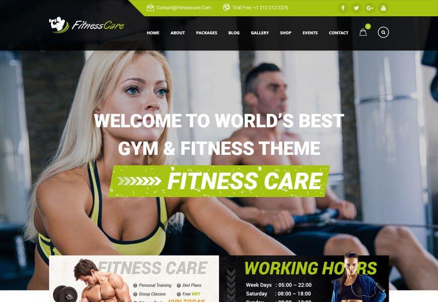 fitness care website template