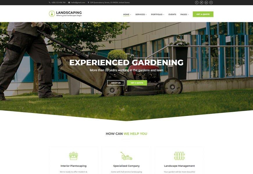 garden & landscaping wordpress theme