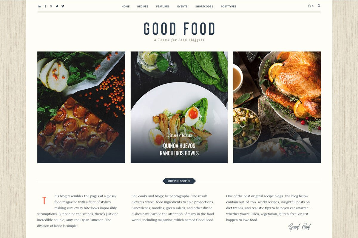 GoodFood is another nice food recipes wordpress blog