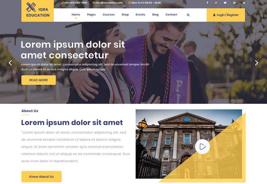 iqra education theme wordpress