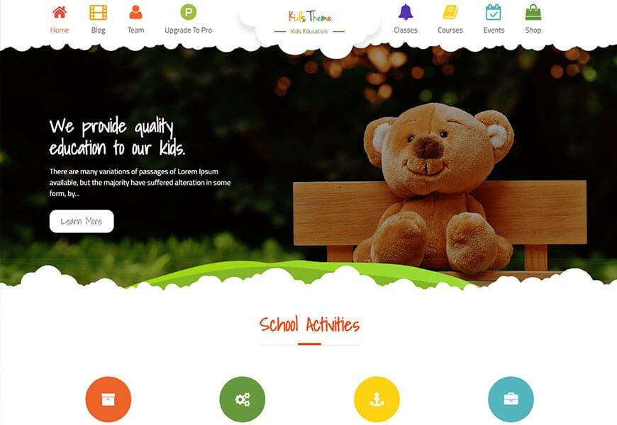 kids education wordpress theme