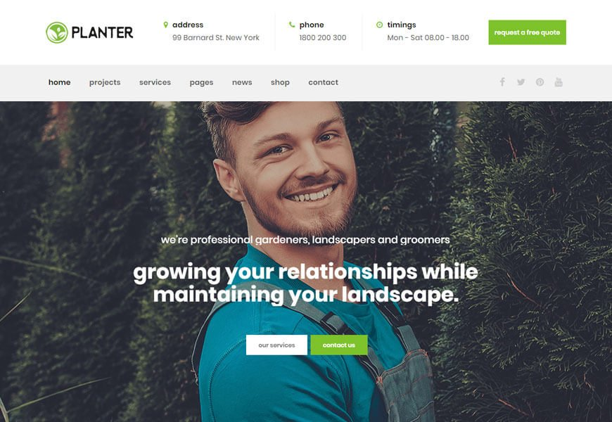 landscaping service WordPress theme