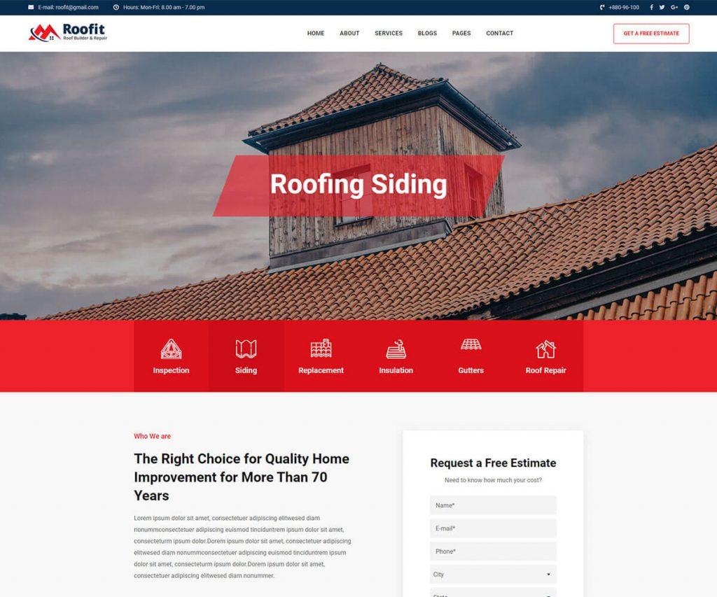 Roofing website template