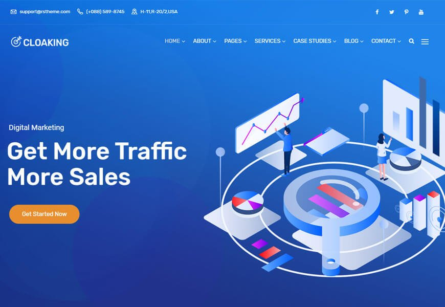 Cloaking wordpress theme for internet marketing company
