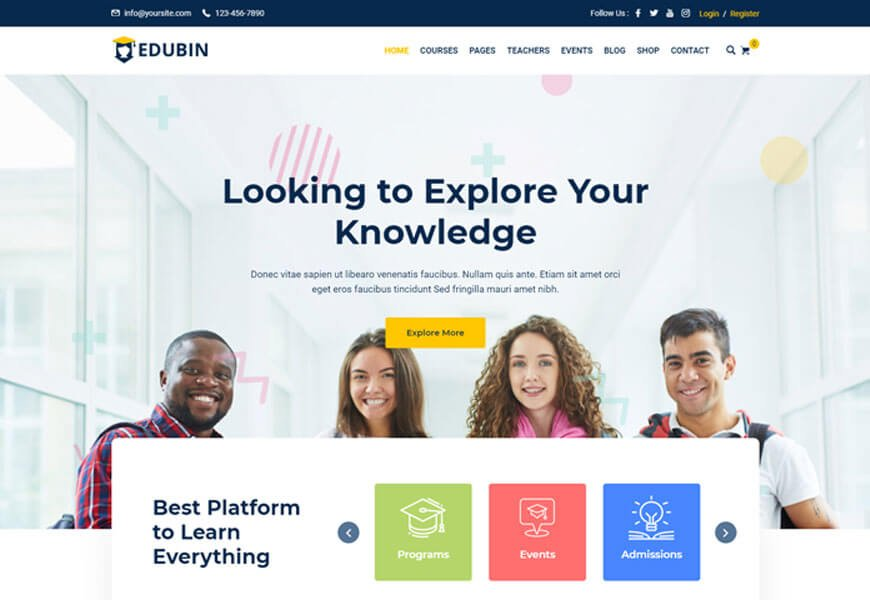 edubin is education wordpress theme