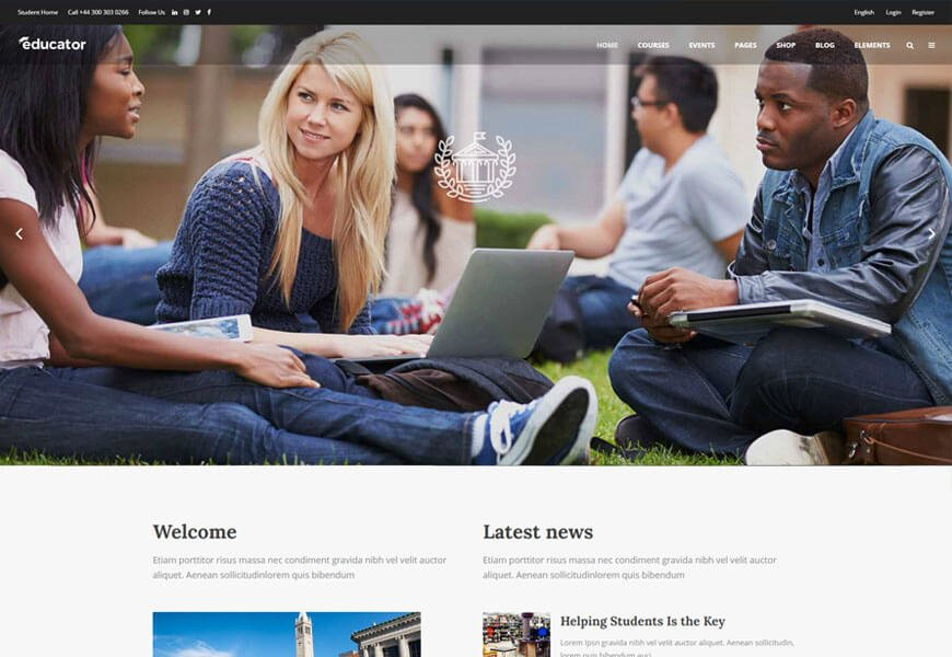 wordpress theme for education website