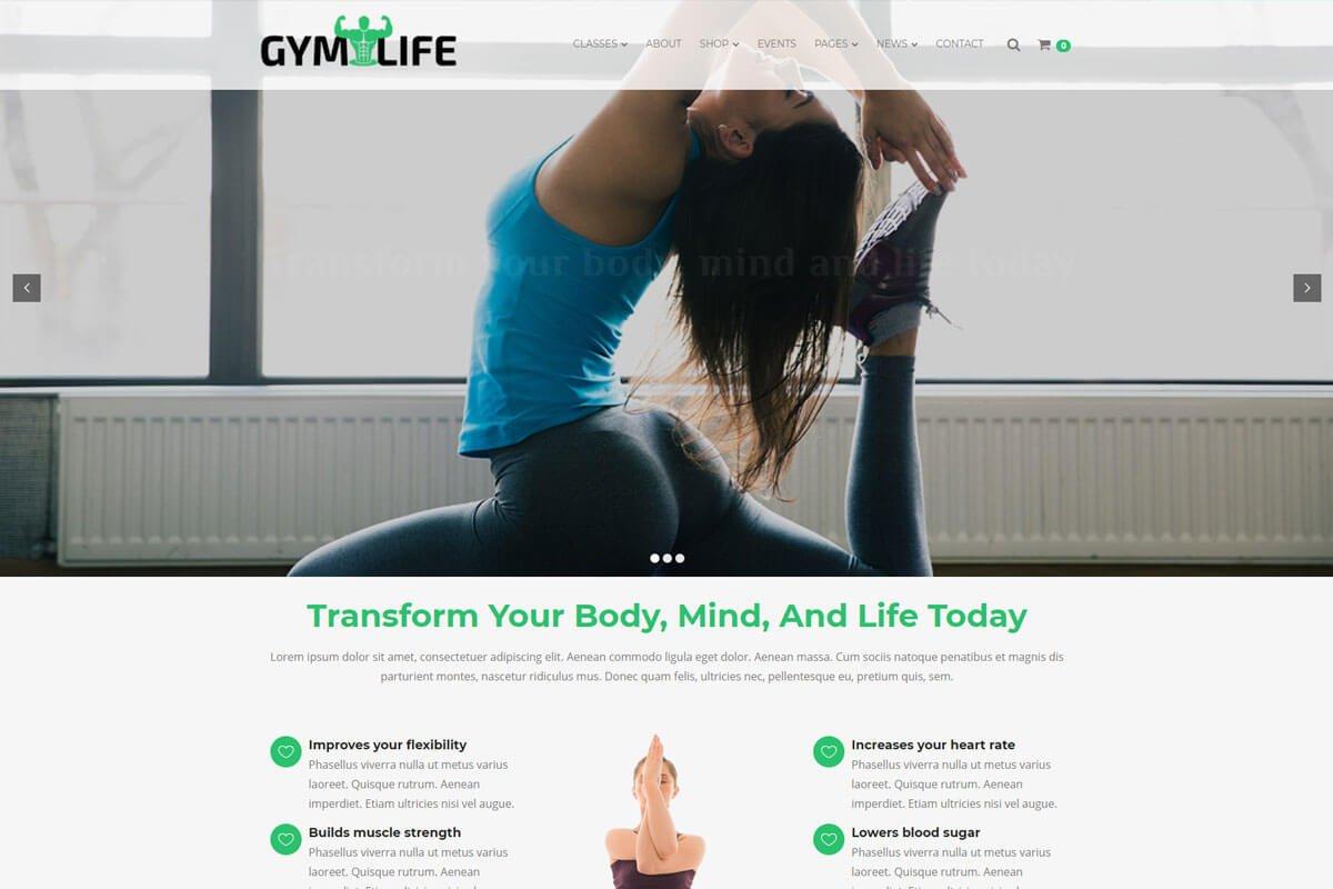 gym fintess wordpress theme for website