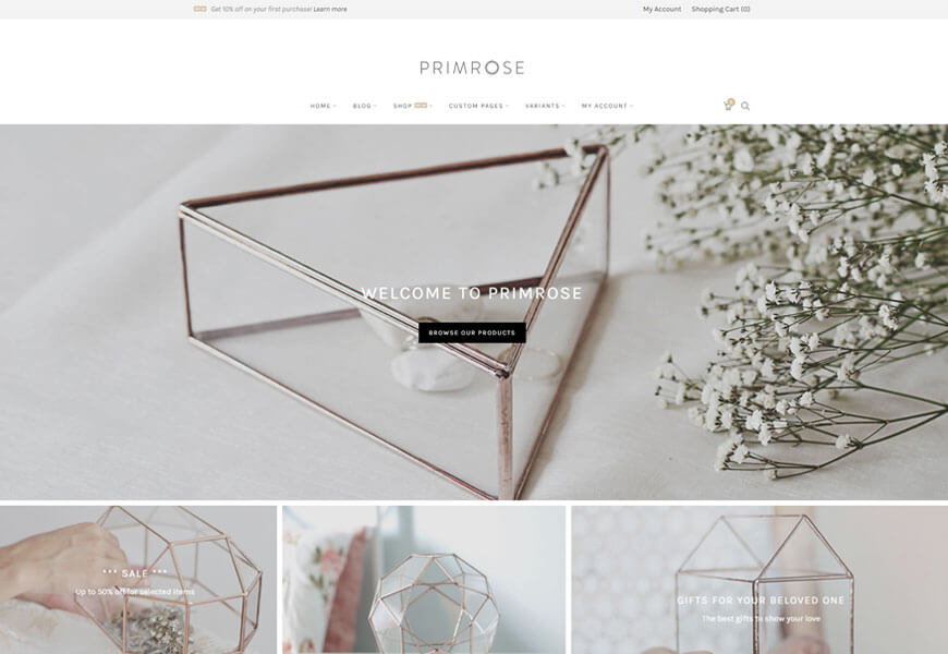 primrose minimal woocommerce theme