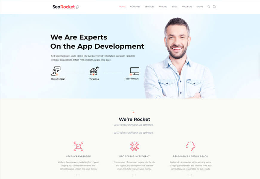 seo rocket wordpress theme for digital agency