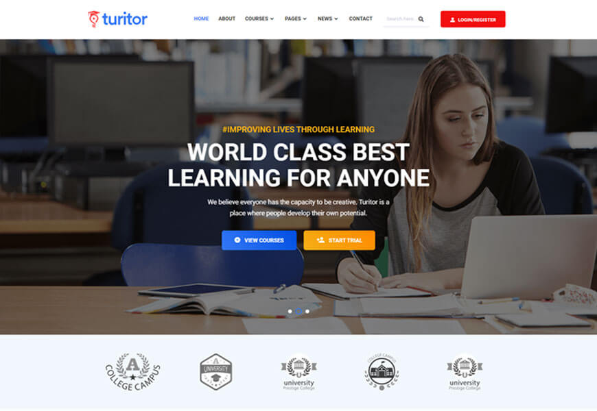 Turitor is WordPress Themes For Education Website