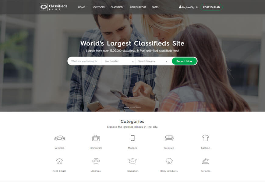 classifield plus is the best classified ads website templates