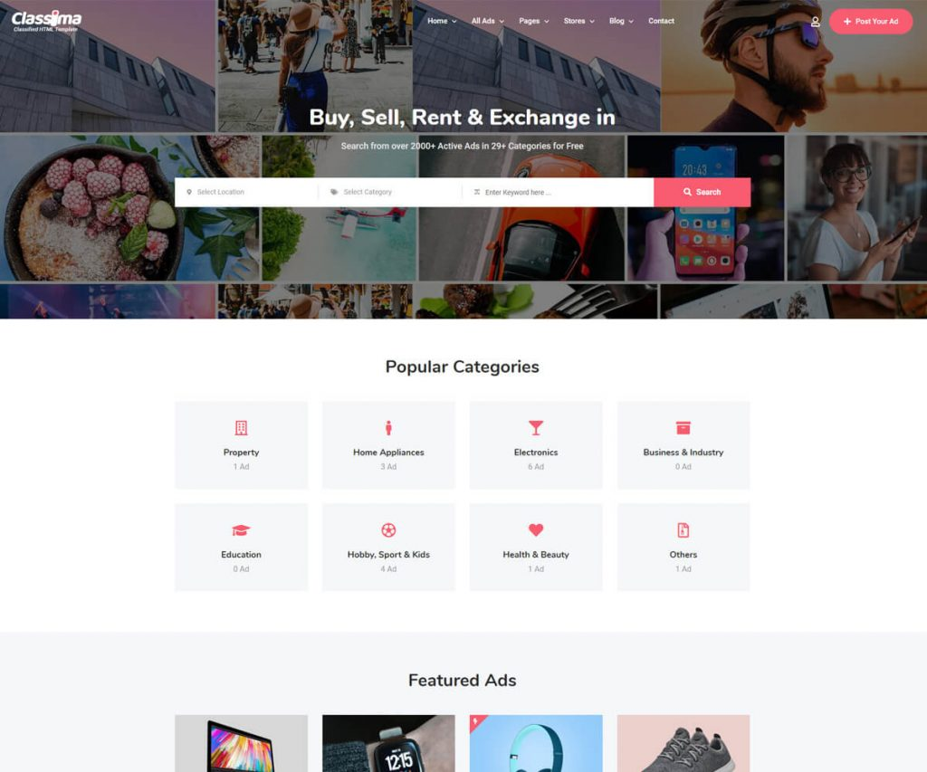 calssima is classified ads website templates