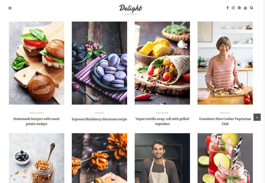 Delight beautiful premium WordPress themes for food blogs