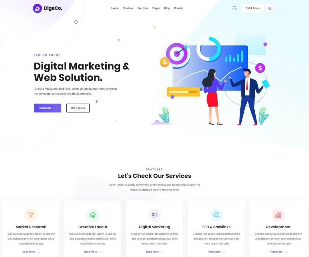 startup theme for digital agency