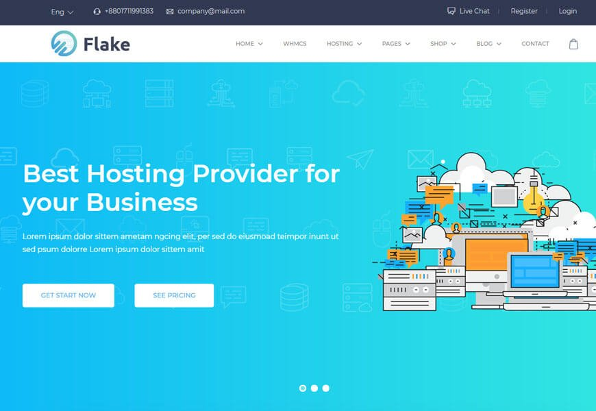 technology website templates for web hosting company
