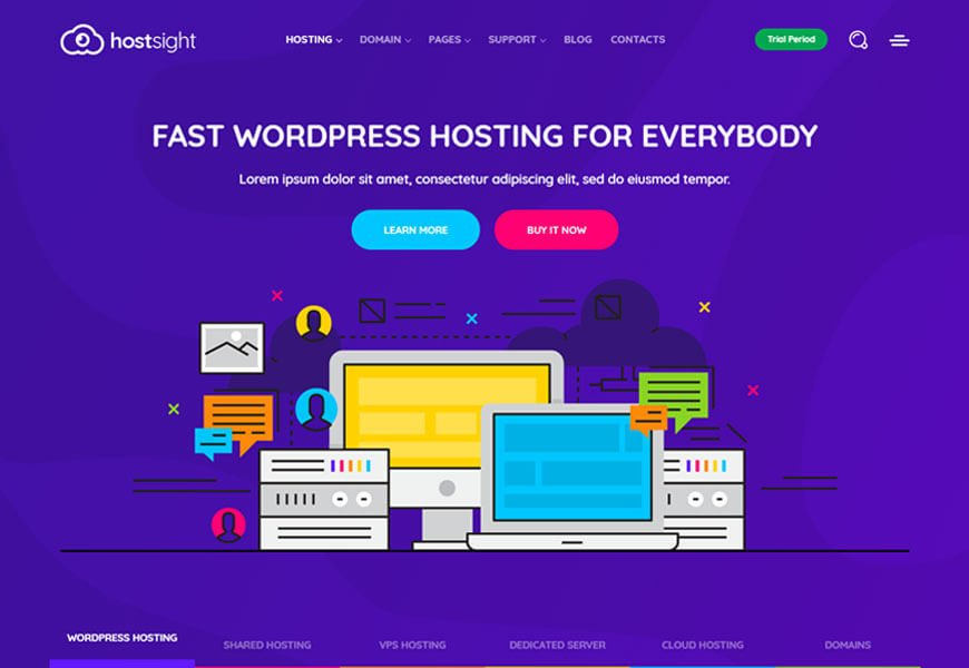 best technology website templates for hosting company