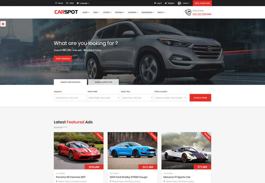 car classified ads website template