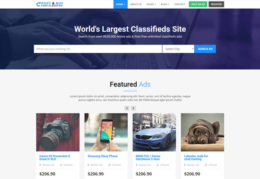post and buy is classified ads website templates