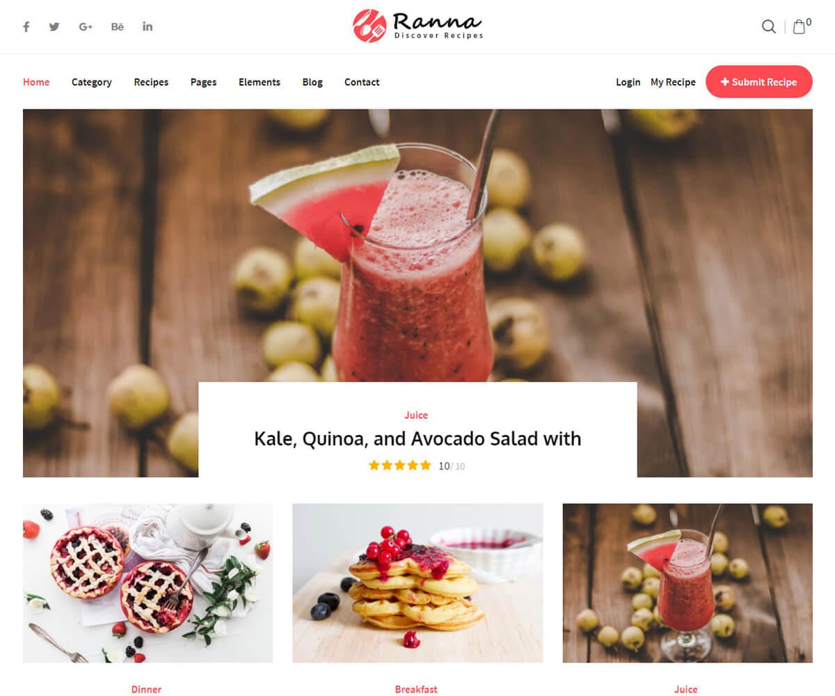 Ranna food blog wordpress theme for food blogger