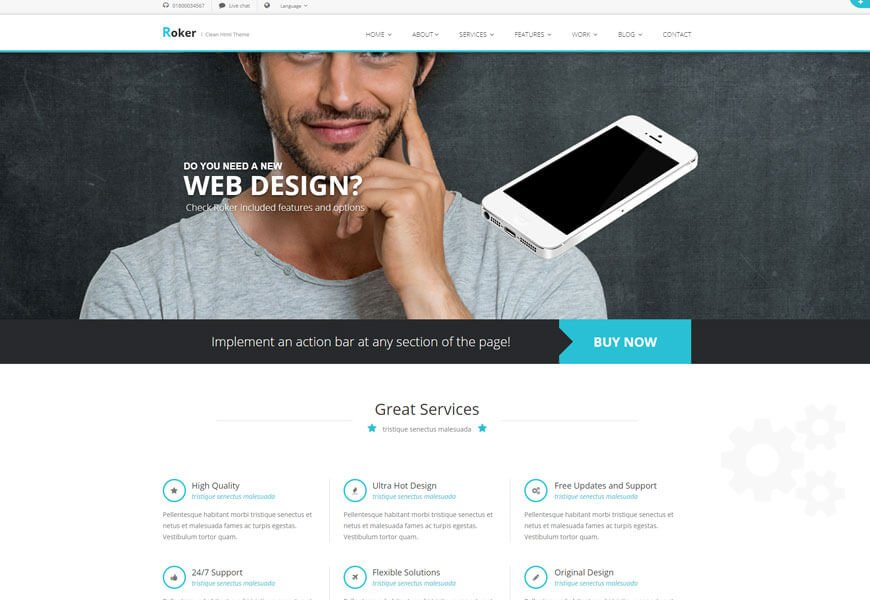 best technology website templates roker