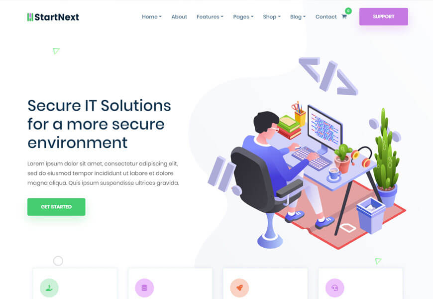 startup WordPress theme for web hosting company