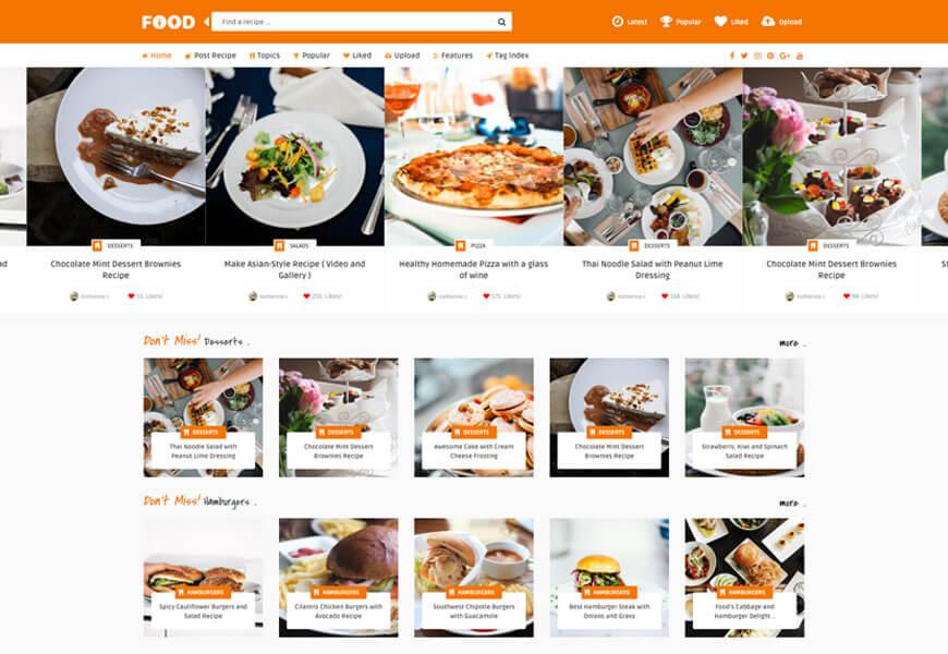 Tasty Food is premium food blog WordPress theme