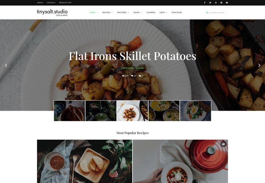 TinySalt food blog wordpress theme