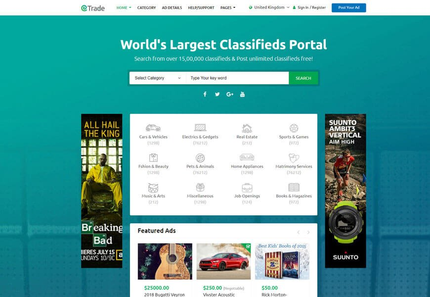 classified ads website templates