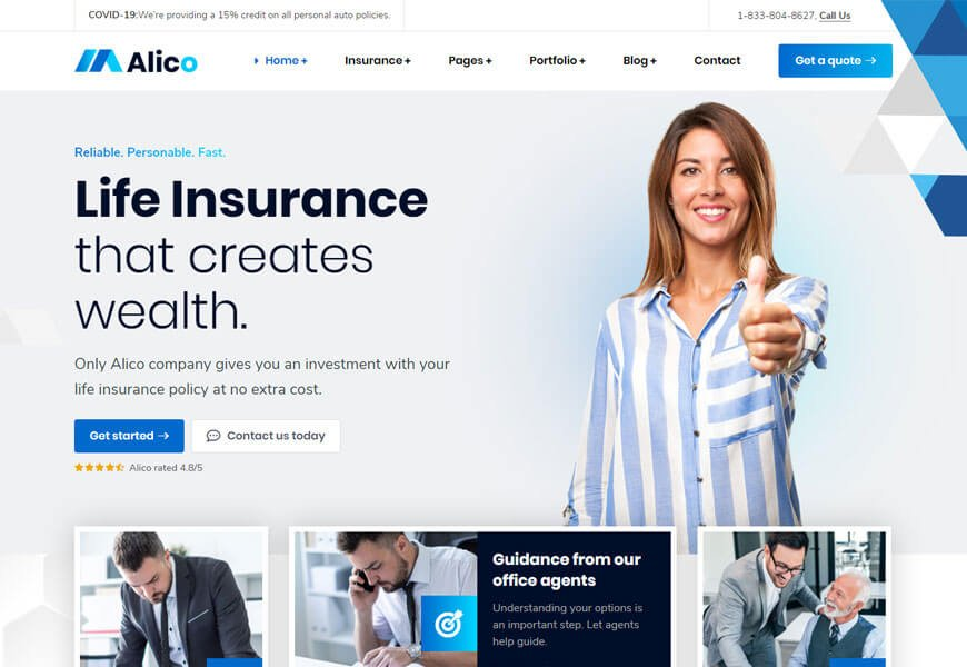 Alico is the Best Insurance WordPress Themes