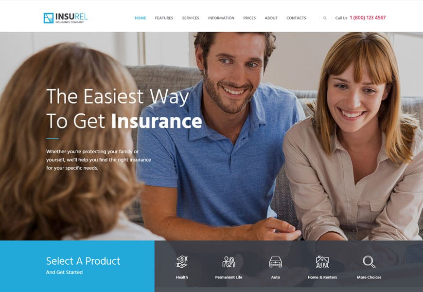 insurance wordpress theme for making website for insurance company website