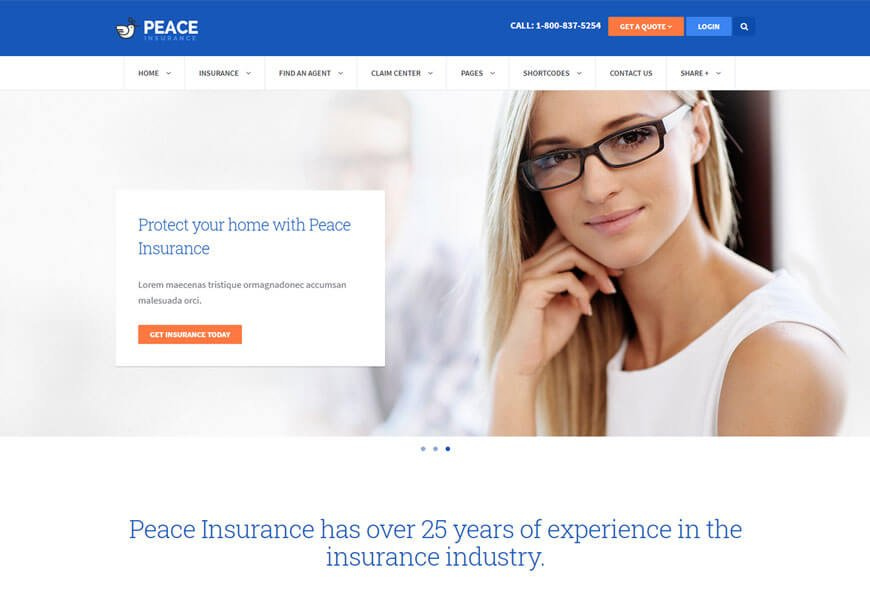 Nice insurance WordPress theme
