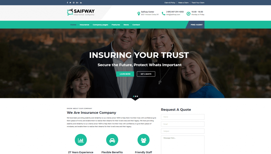 car insurance wordpress theme