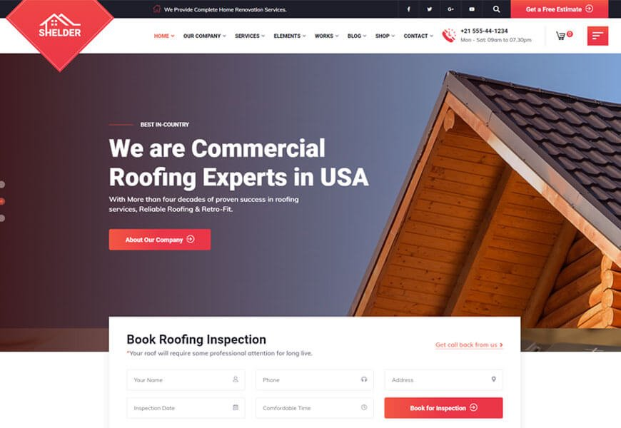 best roofing website templates for making roofing service website