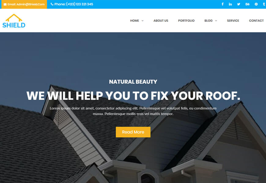 shield is one of the best roofing website templates