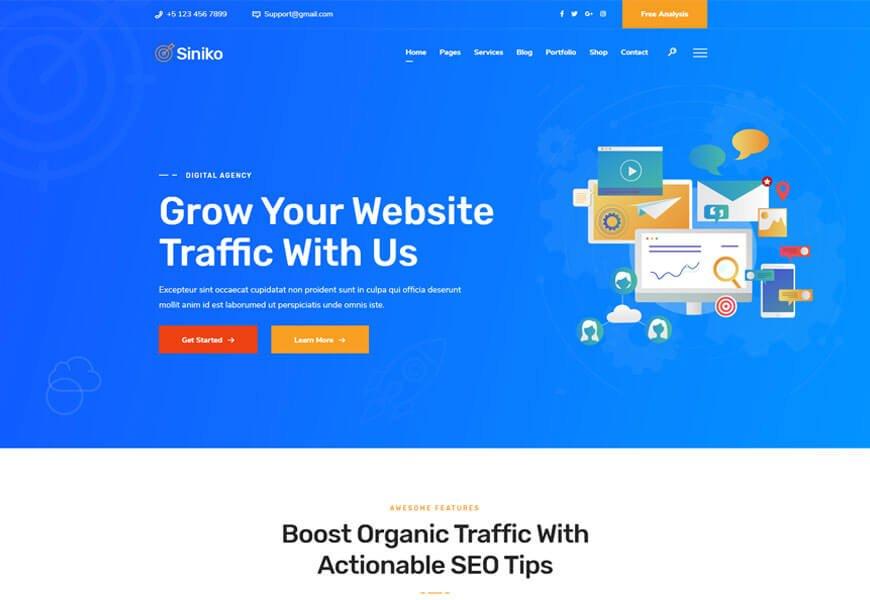 siniko seo agency website templates for seo agency