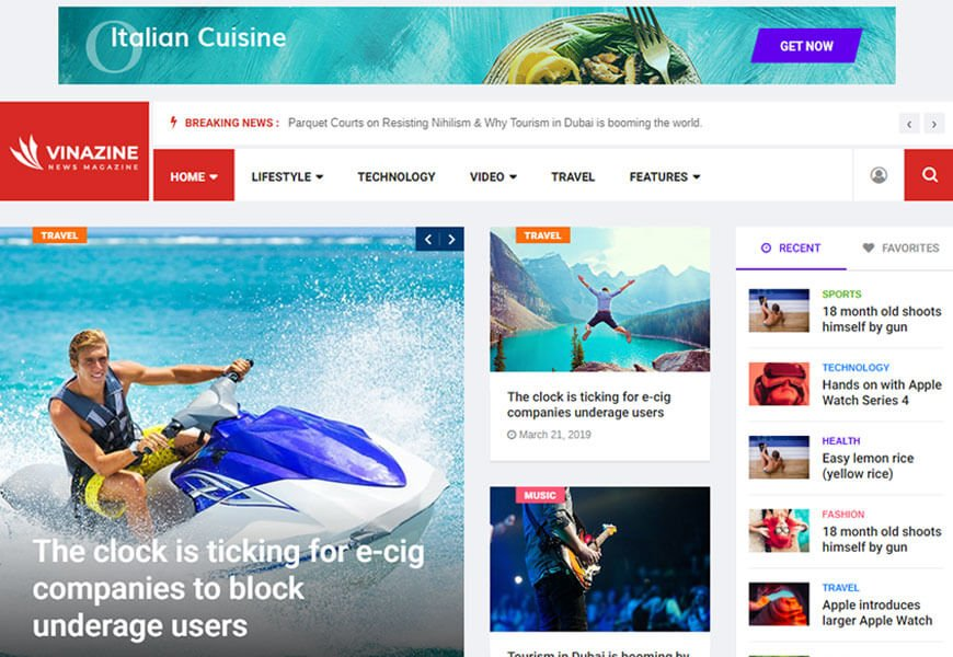 Vinazine is a multi-concept responsive Bootstrap blog template