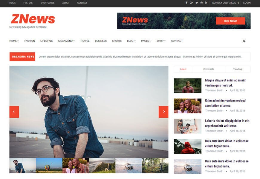 ZNews is one of the beautiful bootstrap blog templates