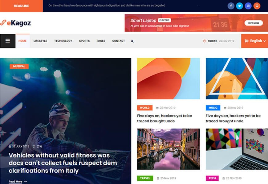 eKagoz is a stellar tool for blog publishers with a choice of 3 comprehensive homepage styles.