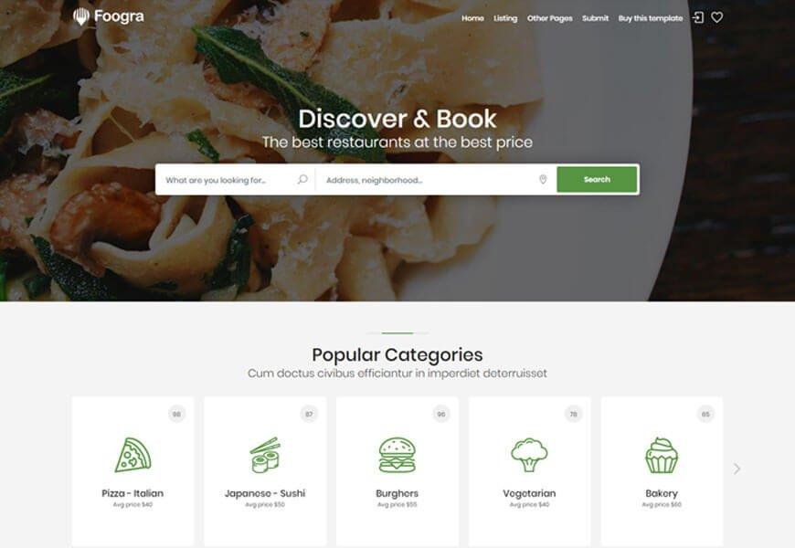 foogra restaurant website templates