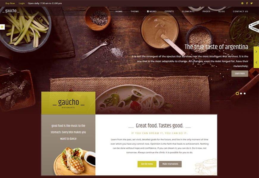 Nice restaurant website templates