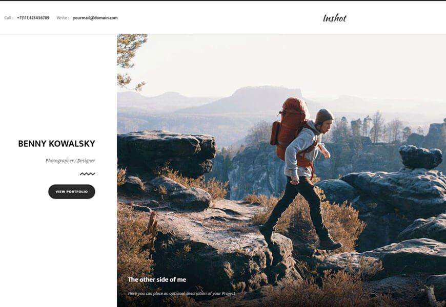 inshot photography website templates