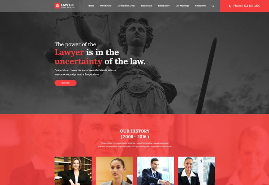 Lawyer is an exceptional law office website template