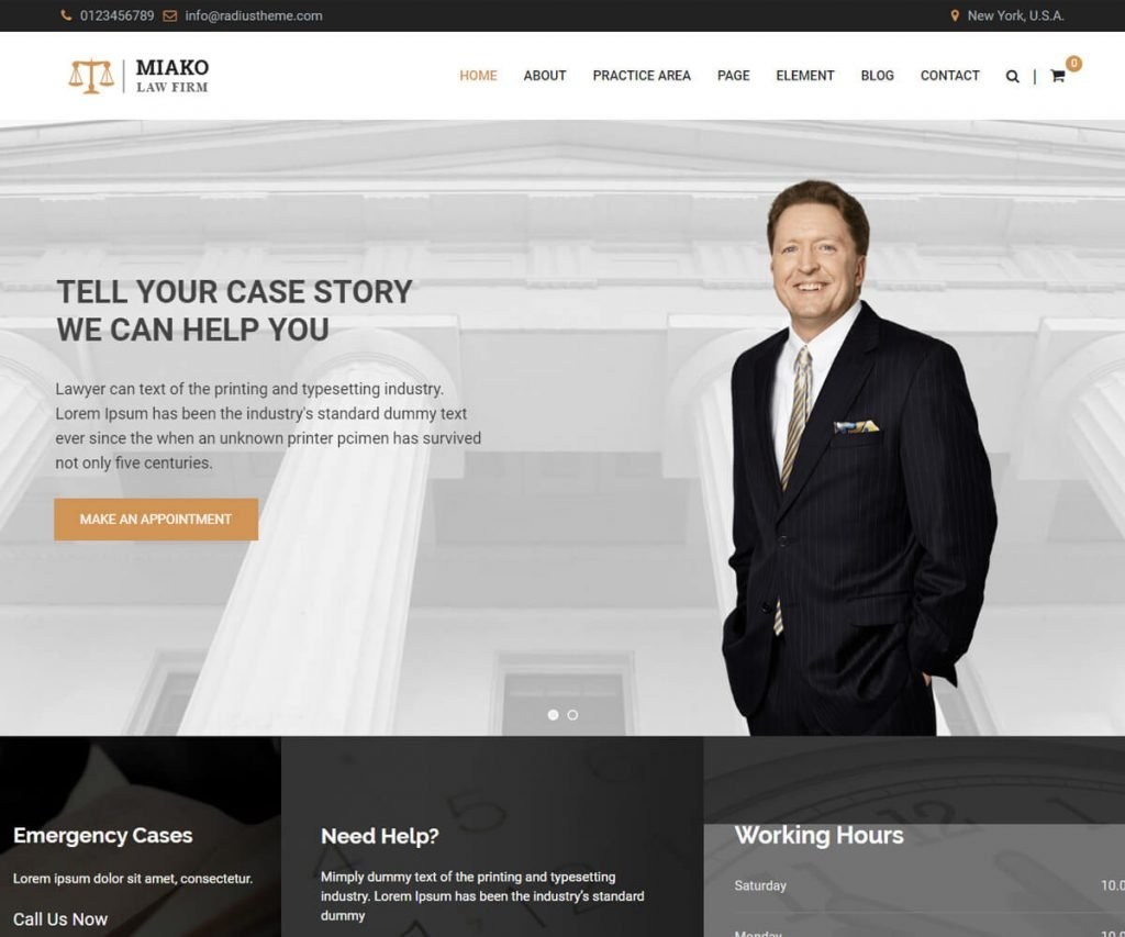 Miako is the best lawyers and law firm website templates