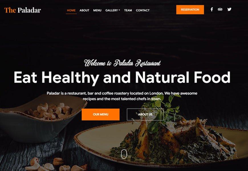 Paladar restaurant website templates