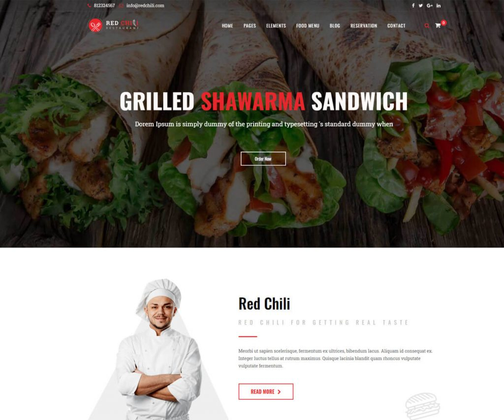 redchili one of the best restaurant website templates